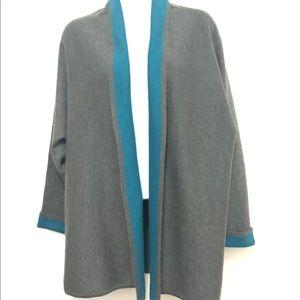 CHICO's Grey & Teal Sweater Cardigan